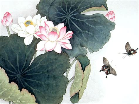 Paintings Of Lotus Flowers 03286 Lotus Leaves Lotus Flowers Pictures Paintings Pics
