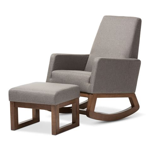 upholstered rocking chair and ottoman baxton studio yashiya mid century retro modern grey fabric