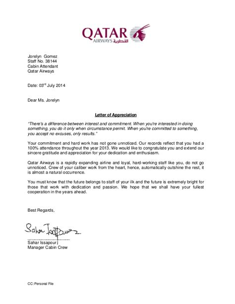 appreciation letter to from letter of appreciation 2013