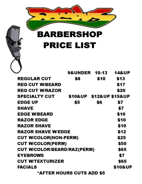 barber shop price list template free salon price list template coloring pages