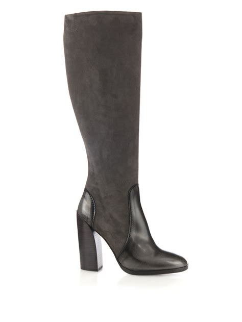 jil sander suede and leather knee high boots in gray lyst