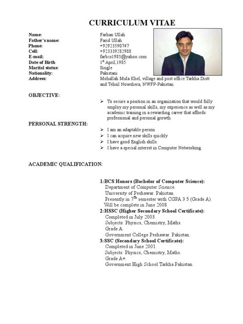 Cv Sles For Fresh Graduates Pakistan Farhan Cv From Pakistan