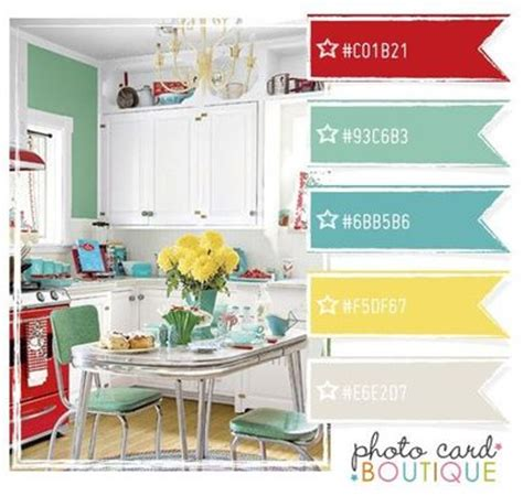 retro kitchen color scheme papercraft juxtapost