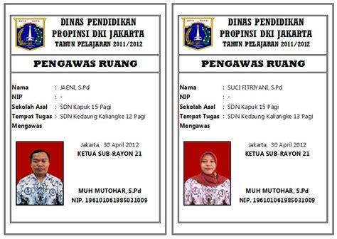 Card A3 Plastik Kartu Nama Name Tag Tebal Plastik Id Card gugus wilayah binaan viii delapan kelurahan kapuk kartu pengawas ruang un