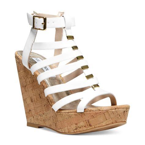 lyst steve madden indyanna platform wedge sandals in white