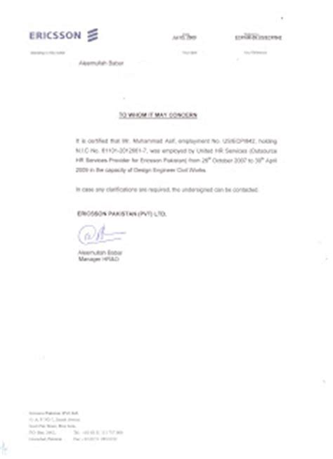 Experience Letter Pakistan Muhammad Asif Profile Experience Certificate