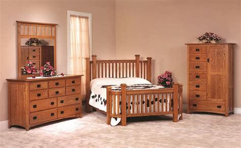 Bedroom Furniture Sets Ready Made Amish Made Oak Mission Bedroom Set