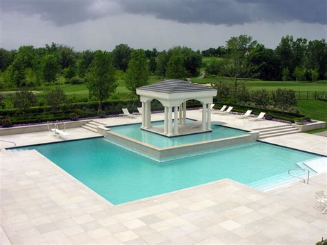 Island Pool And Patio by Pool With Patio Island Golf Course Landscape Design