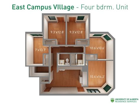 u of a housing floorplan with dimensions for four bedroom units in east cus village ualberta