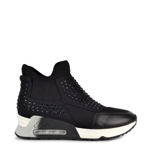 ash shoes shop ash footwear laser trainers in black with
