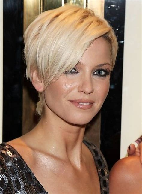 sarah harding short blonde pixie cut  long bangs
