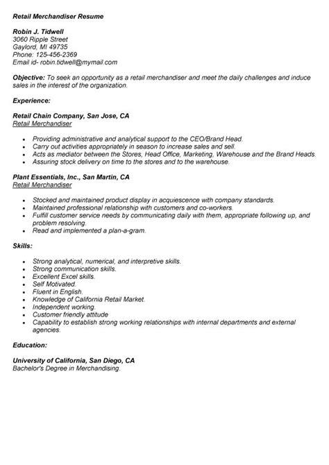 sle resumes for visual merchandiser retail merchandiser resume exle resumes design