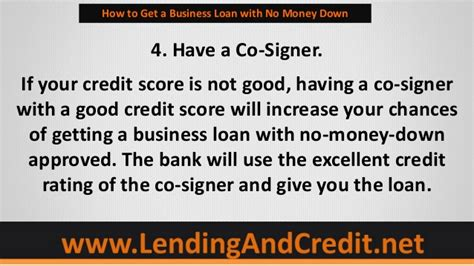 house loans with no money down 5 tips to getting a business loan with no money down