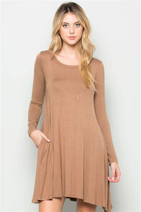 long sleeved swing dress mocha long sleeve open back swing dress my yuccie