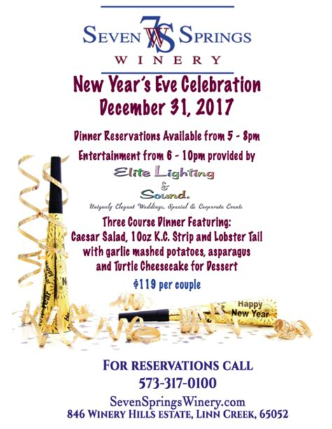 springs winery years eve celebrations