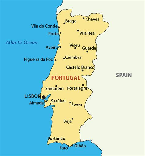 portugal map blank political portugal map with cities
