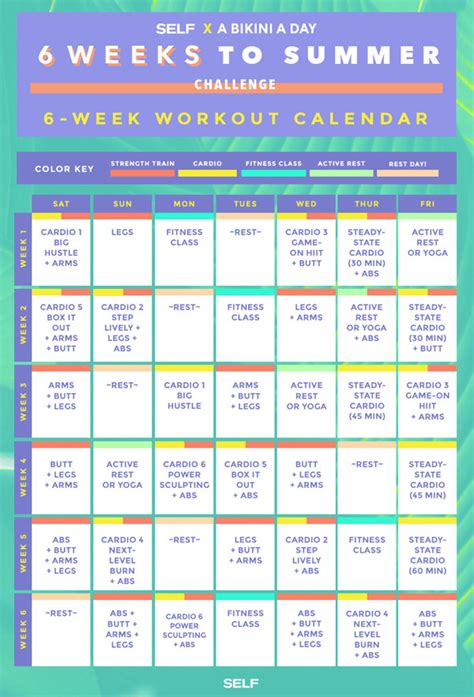 six 8 week challenge the 6 weeks to summer workout calendar self fit