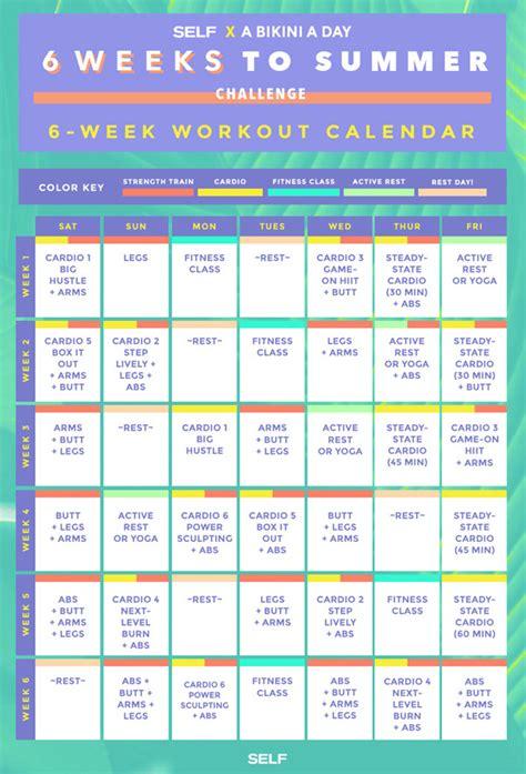 Calendar 6 Weeks The 6 Weeks To Summer Workout Calendar Self Fit