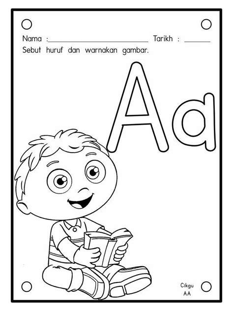 lembaran kerja mewarna huruf  hingga  prasekolah