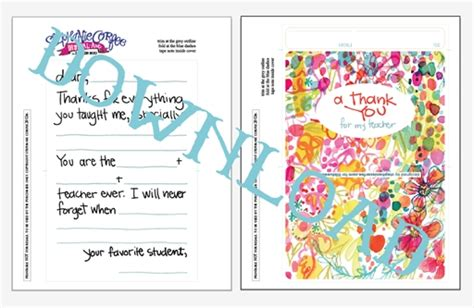printable thank you card from teacher to student teacher appreciation card template resume builder