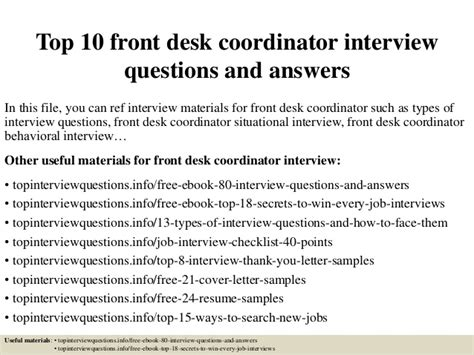 top 10 front desk coordinator questions and answers