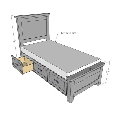 Twin Bed Frame With Drawers Plans Bed Frames Ideas Bed Frame Plans With Drawers