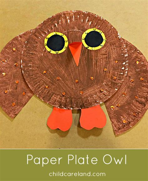 How To Make A Paper Plate Owl - paper plate owl childcareland