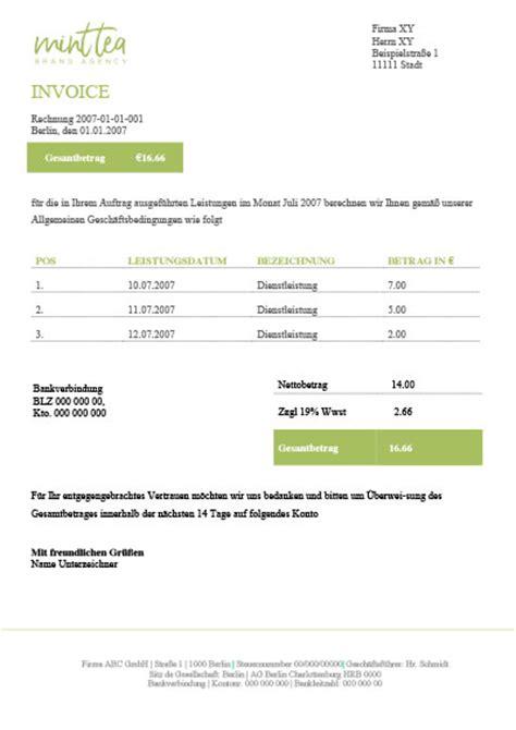 Kostenlose Vorlage Rechnung Word Kostenlose Rechnungsvorlagen F 252 R Word