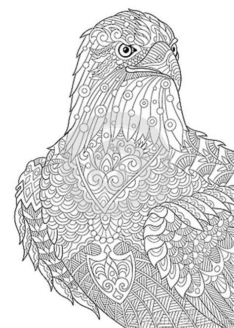 eagle coloring pages for adults zentangle stylized eagle stock vector image 74060636