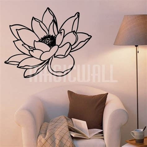 Lotus Flower Print Wall Sticker wall decals 2017 grasscloth wallpaper