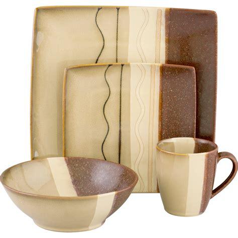 Brown Set Sango 460116w Carousel Brown 16 Dinnerware Set