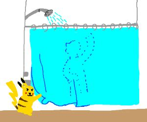 Can I Pikachu In The Shower by Pikachu Peeks At You Inappropriately