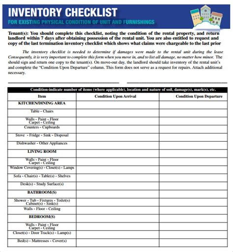 sle inventory checklist 17 documents in word excel pdf