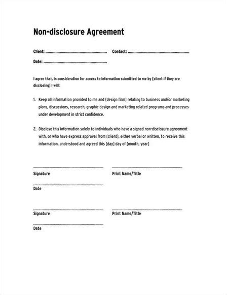 Non Disclosure Agreement Template Cyberuse Free Standard Non Disclosure Agreement Template
