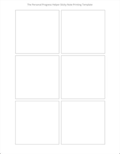 sticky note template sticky note printing template the personal progress helper