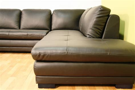 Theater Sectional Sofa Black Top Grain Genuine Leather Modern Home Theater Sofa Chaise Sectional
