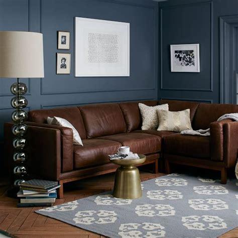 black sofa wall color dekalb premium leather 3 piece sectional west elm