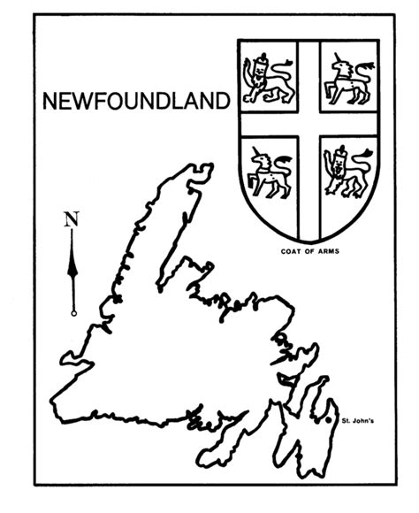 Newfoundland Map Coloring Page | canada day coloring page newfoundland map coat of
