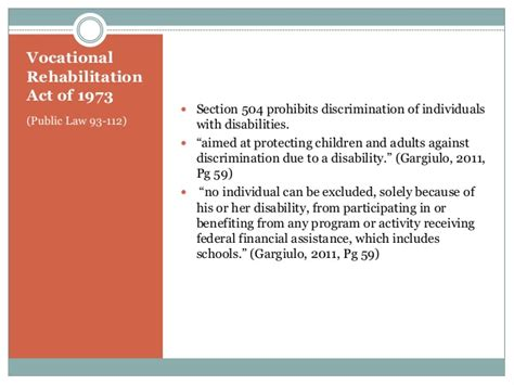 section 504 of public law 93 112 presentation history of special education