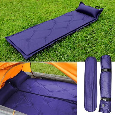 self inflating air mattress sleeping pad outdoor bed cing mat blue ebay