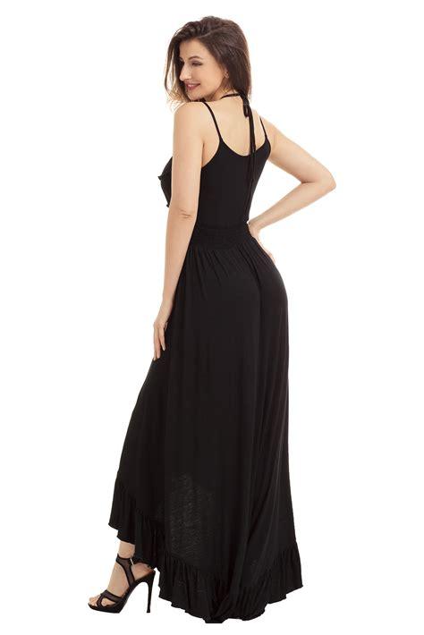 Naira Maxy Dress in black lace up v neck ruffle trim hi low maxi dress