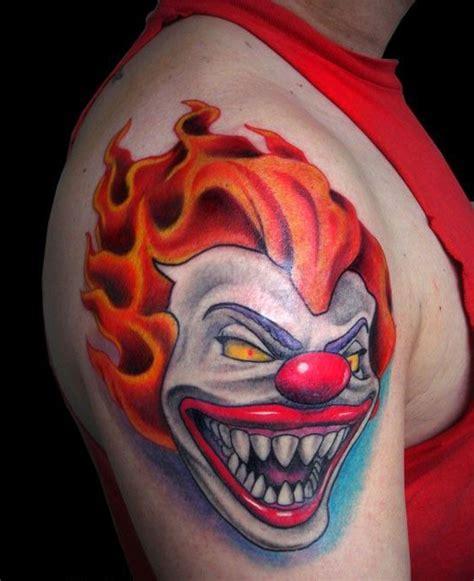 Fire Hair Evil Clown Tattoo On Shoulder Best Tattoo Tattoos Of Evil Clowns