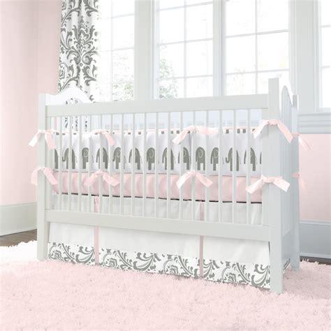 pink  gray elephants crib blanket carousel designs
