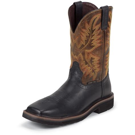 justin boots s justin 11 quot stede composition toe pull on boots