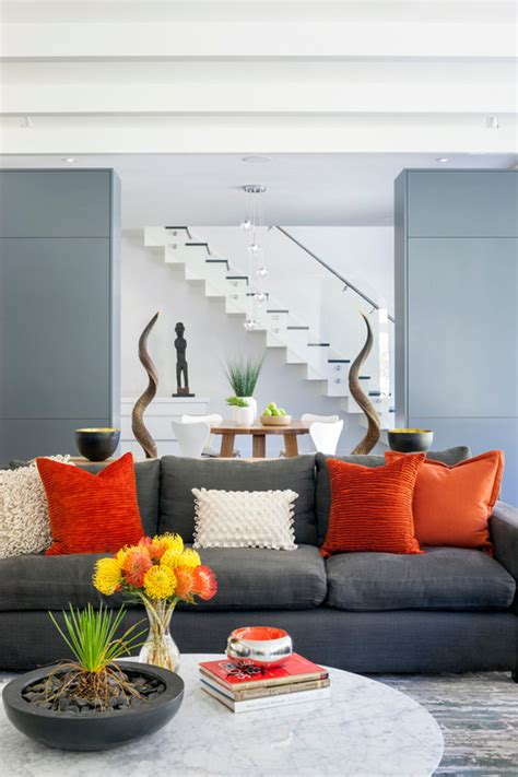 Orange And Grey Living Room by Home Decorating Ideas For Winter Treetopia