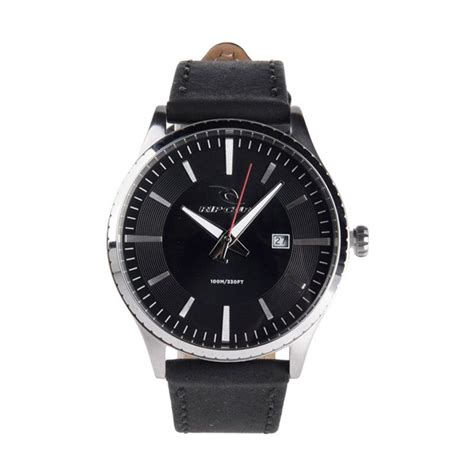 Jam Tangan Pria Ripcul Date On Stainlist Black jual rip curl leather jam tangan pria black a2918