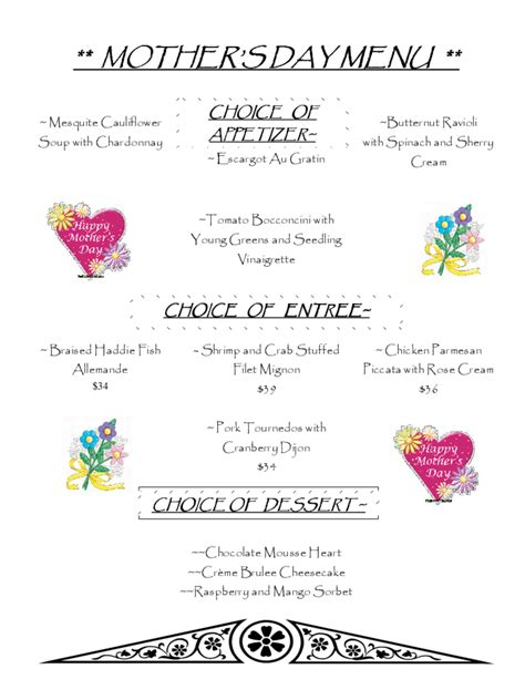 mother s day menu template 2 free templates in pdf word