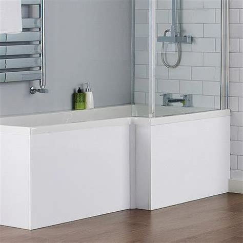 l shaped shower bath with hinged screen milan shower bath 1700mm l shaped with hinged screen mdf panel at plumbing uk