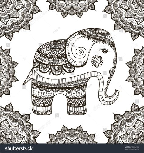 indian elephant doodle indian elephant with doodle tribal ornament
