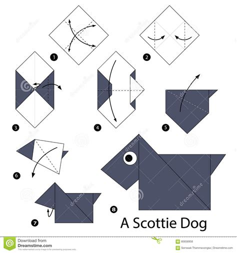 How To Make A Origami Puppy - step by step how to make origami a scottie